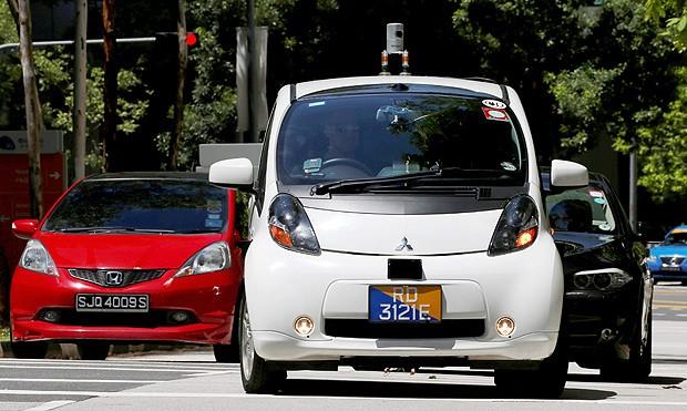 Carro autônomo em teste em Singapura.